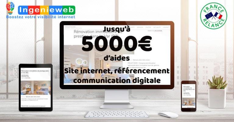 Plan de relance chèque numérique avec Ingenieweb site internet referencement communication digitale dans le var
